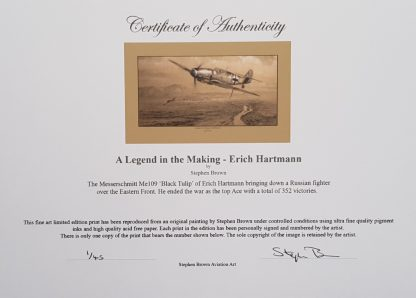 A Legend in the Making Erich Hartmann Mounted Limited Edition Pencil Drawing Certificate (Stephen Brown Aviation Artist)