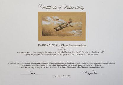 FW 190 of JG300 Klaus Bretschneider Mounted Pencil Print Certificate (Stephen Brown Aviation Artist)