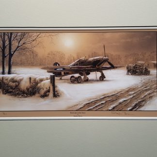 Hurricane in the Snow Mounted Limited Edition Pencil Drawing (Stephen Brown Aviation Artist)