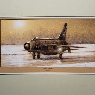Lightning in the snow Mounted Limited Edition Pencil Drawing (Stephen Brown Aviation Artist)