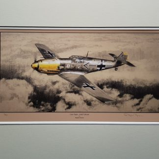 Lone Eagle Adolf Galland Mounted Limited Edition Pencil Drawing (Stephen Brown Aviation Artist)