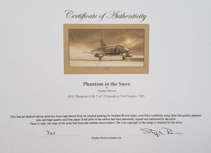 Phantom in the snow Mounted Pencil Print Certificate (Stephen Brown Aviation Artist)