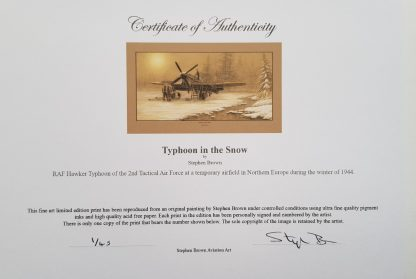 Typhoons in the snow Mounted Pencil Print Certificate (Stephen Brown Aviation Artist)
