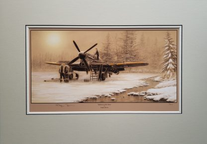 Typhoons in the snow Mounted Pencil Print (Stephen Brown Aviation Artist)