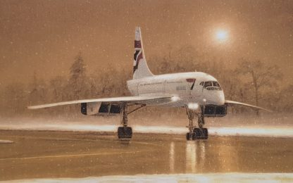 Concorde in the Snow Greeting Cards